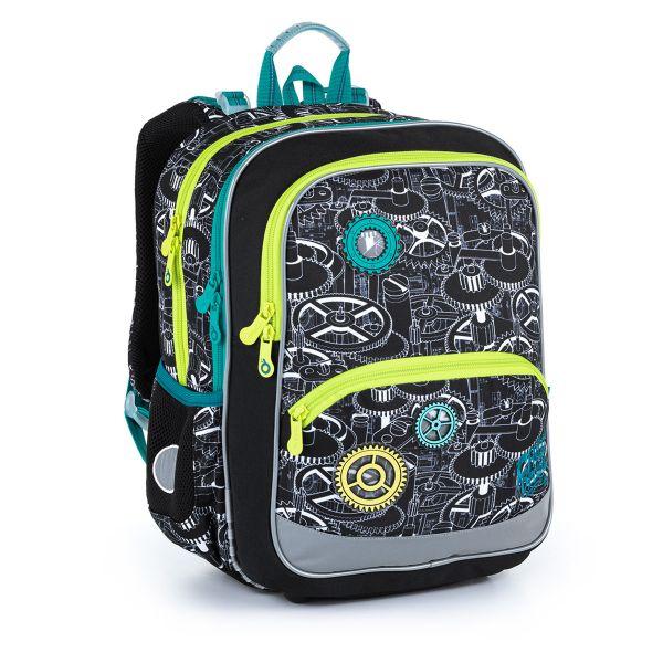 Lehký černý batoh s ozubenými kolečky do prvních tříd. Topgal BAZI 21014 B