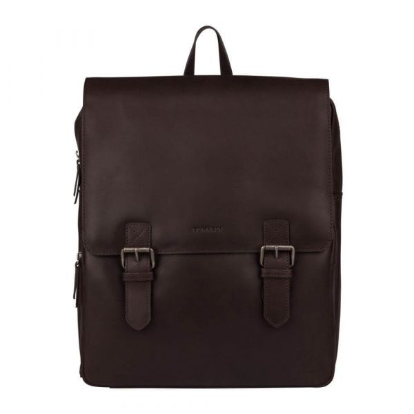 Trendy kožený batoh Burkely Amstr s powerbankou – tmavě hnědá