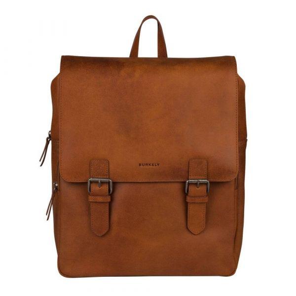 Trendy kožený batoh Burkely Amstr s powerbankou – koňak