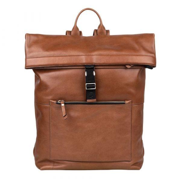 Trendy kožený batoh Burkely Rolltop – koňak