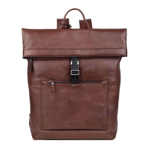 Trendy kožený batoh Burkely Rolltop – hnědá