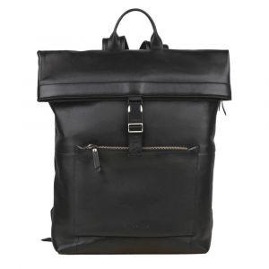 Trendy kožený batoh Burkely Rolltop – černá