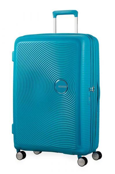 American Tourister Cestovní kufr Soundbox Spinner EXP 97/110 l – světle modrá