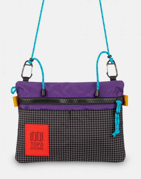 Topo Designs Carabiner Shoulder Accessory Bag Purple/Black Ripstop