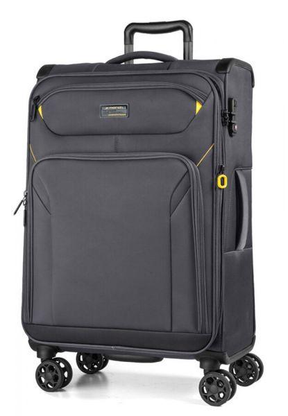 March Látkový cestovní kufr Black Forest L 93/105 l – šedá