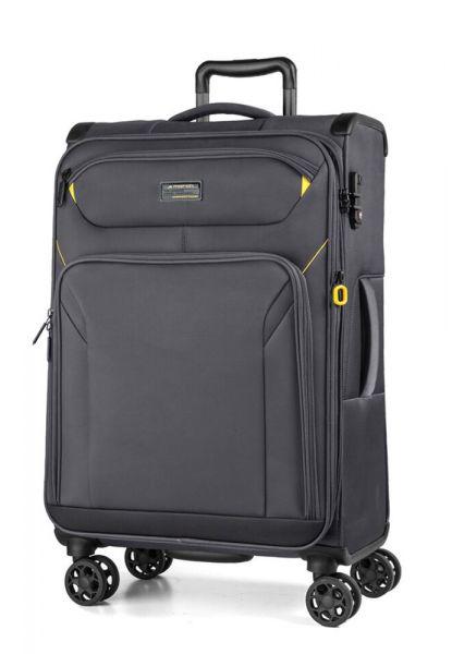 March Látkový cestovní kufr Black Forest M 67/72 l – šedá