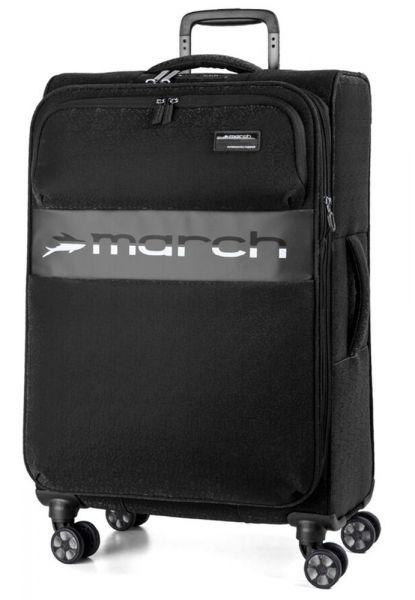 March Látkový cestovní kufr Mosaic L EXP 93/105 l – černá