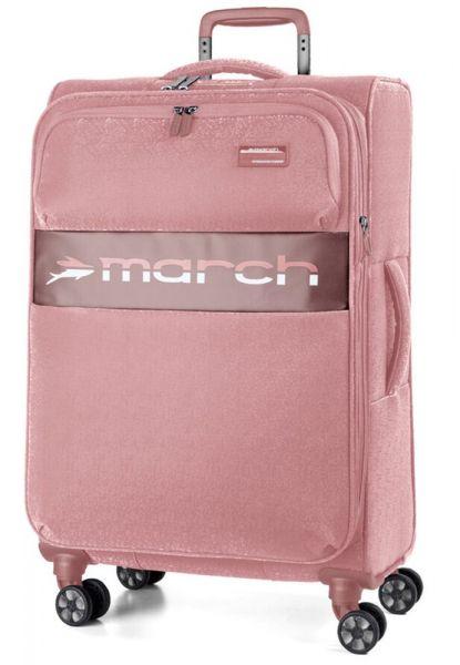 March Látkový cestovní kufr Mosaic L EXP 93/105 l – růžová