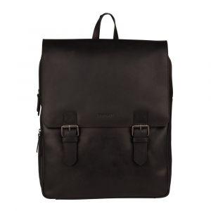 Trendy kožený batoh Burkely Amstr s powerbankou – černá