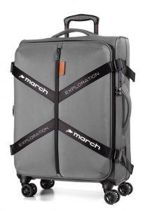 March Látkový cestovní kufr Exploration M 3834 69/79 l – šedá
