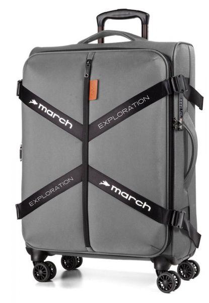 March Látkový cestovní kufr Exploration L 3834 106/120 l – šedá