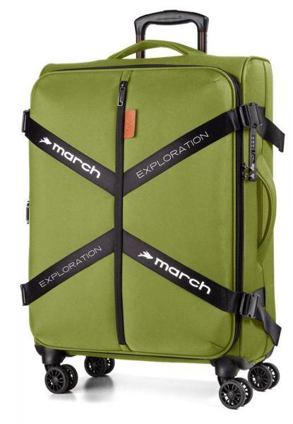 March Látkový cestovní kufr Exploration L 3834 106/120 l – zelená