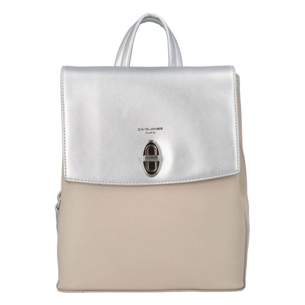 Módní dámský batoh David Jones Lea – béžovo-stříbrná