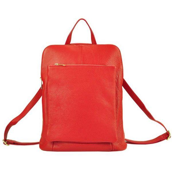 Kožený dámský batoh Vera Pelle Lindes – červená