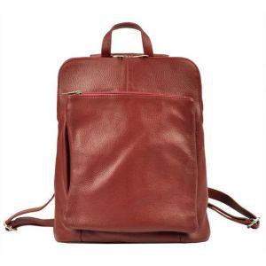 Kožený dámský batoh Vera Pelle Lindes – tmavě červená