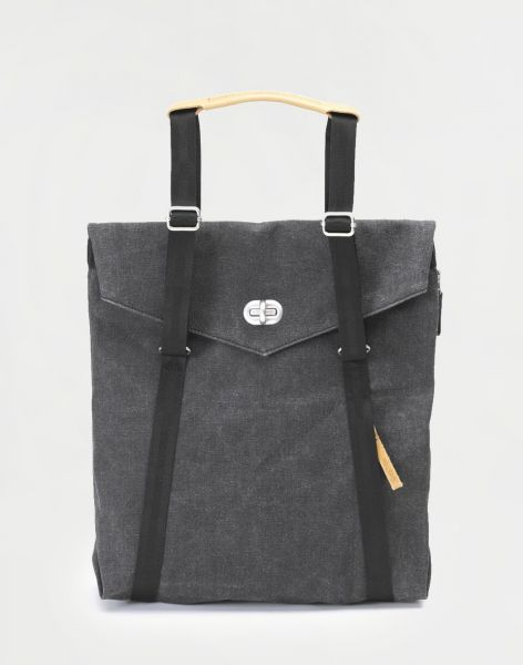 Qwstion Tote Organic Washed Black 13 l