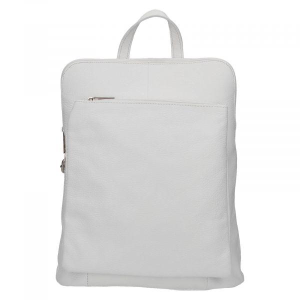 Kožený dámský batoh Vera Pelle Lindes – bílá