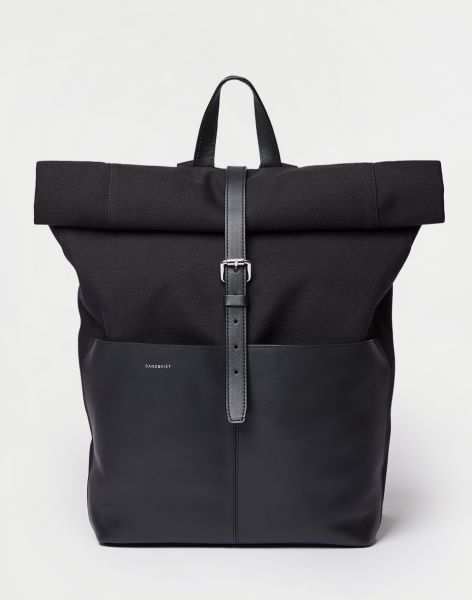 Sandqvist Antonia Twill Black twill with black leather 15 l