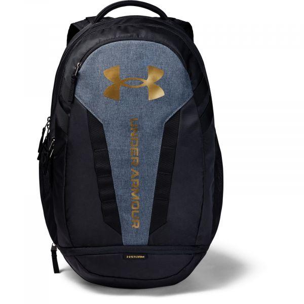 Under Armour UA Hustle 5.0 Backpack Black / Black Medium Heather / Metallic Gold Luster