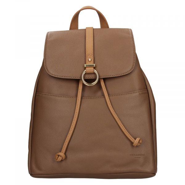 Elegantní dámský kožený batoh Hexagona Adina – hnědá