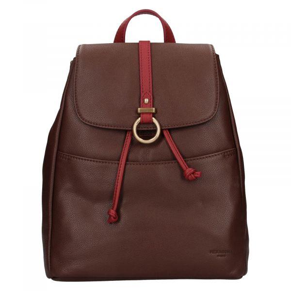 Elegantní dámský kožený batoh Hexagona Adina – tmavě hnědá