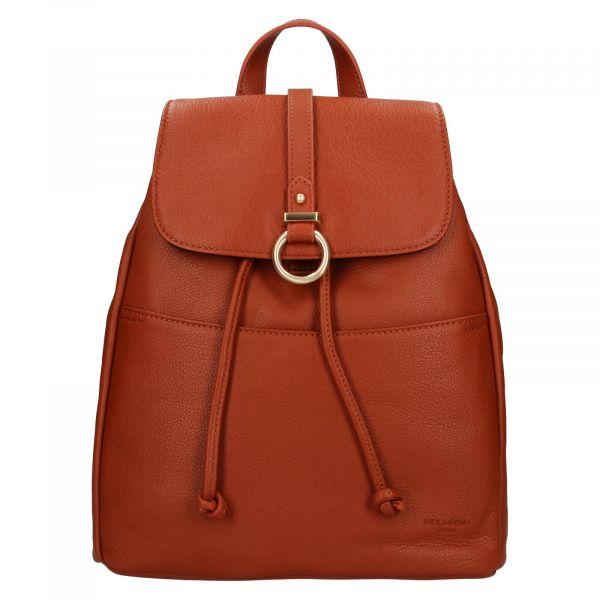 Elegantní dámský kožený batoh Hexagona Adina – koňak