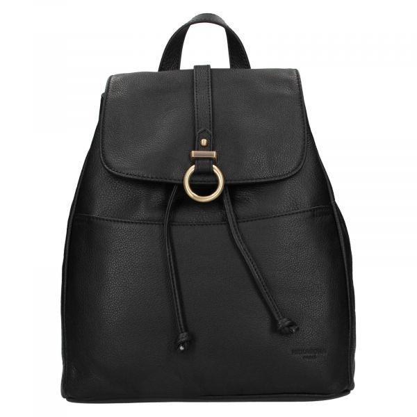 Elegantní dámský kožený batoh Hexagona Adina – černá