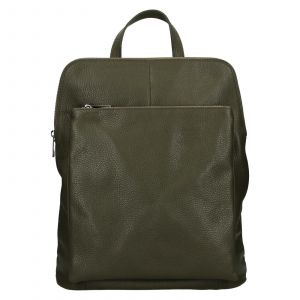 Kožený dámský batoh Unidax Marion – olivová