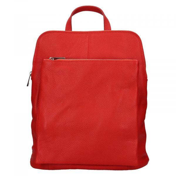Kožený dámský batoh Unidax Marion – červená